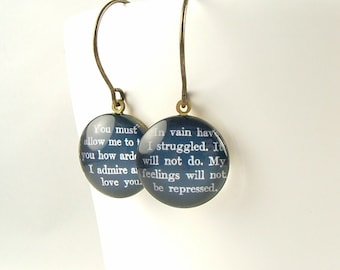 Glass Drop Earrings - Jane Austen Jewelry - Literary Pride and Prejudice - Mr Darcy Quote - Romantic Gift For Wife