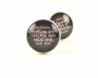 Gift For Him - Anniversary Gift - Groom Cuff Links - Edgar Allan Poe Cufflinks - A Dream Within A Dream - Groomsmen Cufflinks