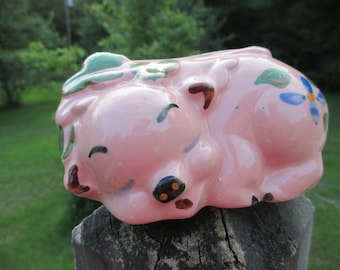 Vintage Sleeping Pig Planter--Pink with Flowers--Mid Century--Ceramic Planter--Cottage Chic--Pencil Holder--Nursery Decor--Shower Gift