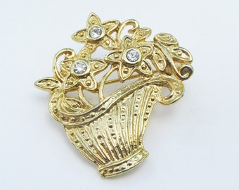 Basket of Flowers Gold and Rhinestone Vintage Brooch