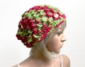 The Passport, 100 Percent Cotton Slouchy Beanie, All Season, Cranberry Maroon and Celery, Summertime, Sporty, Modern