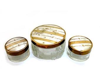 Set of 3 Pressed Glass Dresser Vanity Jars Gold Silver Patterned Lids