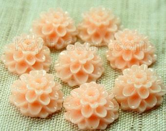 8pcs Dahlia Chrysanthemum Flower Cabochon Cabs 14mm - Peach