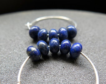 lapis lazuli jewelry. royal blue stone earrings. sterling silver hoop earings.