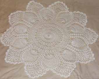 Large Ecru Pineapple Doily - ready to ship - crocheted