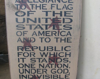 Primitive Americana Pledge of Allegiance Sign Plaque GCC04834