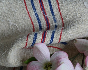 Nr. 648: Grain Sack antique  RED and BLUE  style organic pillow benchcushion 47.24 long wedding decoration