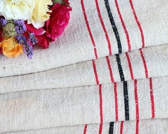 Nr. 868:  antique RED and  BLACK STRIPED 6.12 yards perfect for tablerunner upholstering 20.87 wide cushions decoration
