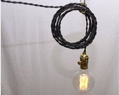 8 Hanging Lamps - Twisted Black Cord. No Bulbs.