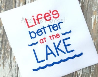 Machine Embroidery Design Applique Life's Better at the Lake INSTANT DOWNLOAD