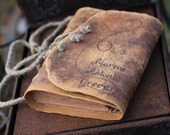 Leather journal wedding guest book with brown craft paper 8,8 x 6,6 Medieval look personalized