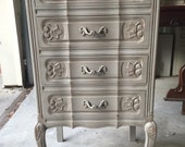 French provincial grey lingerie or jewelry chest