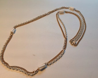 Vintage Gold and White chain necklace