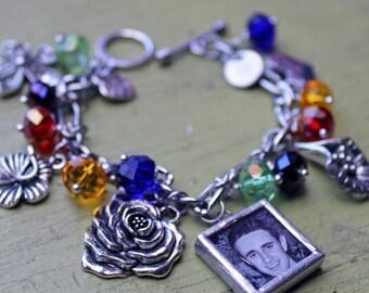 Flower charm bracelet with photos, photo jewelry, new grandma gift, mom bracelet, birthday gift for mom