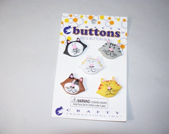 5 Large Cat Buttons on Original Card, Lot  2682   (Free US Shipping)