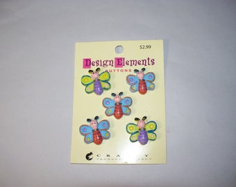 5 Large Butterfly Buttons on Original Card, Lot  2688  (Free US Shipping)