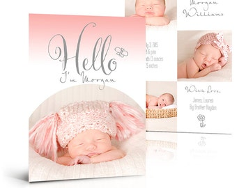 Girl Birth Announcement Card - SIMPLY BABY MORGAN - (2) Press Printed 5x7 Flat Photoshop Card Templates for Photographers and Scrapbooks.