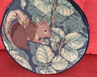 Vintage Squirrel Needlepoint Cross Stitch Pillow Shabby Cottage Home or Apartment Woodland Creature 1970s