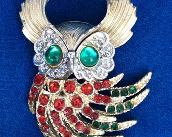 Vintage Owl Pin with Rhinestones 50s 60s Party, Everyday or Holiday Brooch