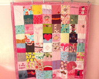Custom Baby Clothes Quilt- 64 Block - Memory Blanket - Memory Quilt - Baby Blanket