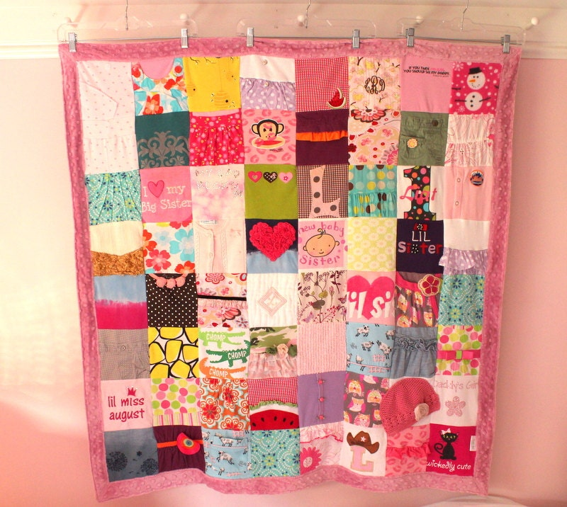Custom baby clothes quilt 64 block memory blanket by maidenjane