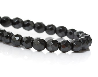 Natural Hematite Beads faceted round grey strands 6mm (Grade A)  PN502