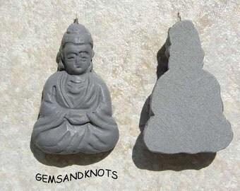 Handmade Grey Buddha Pendant Charm 41mm GK4857