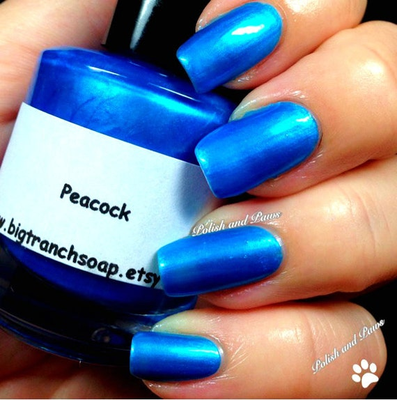 Blue Holographic Nail Polish PEACOCK Free U.S