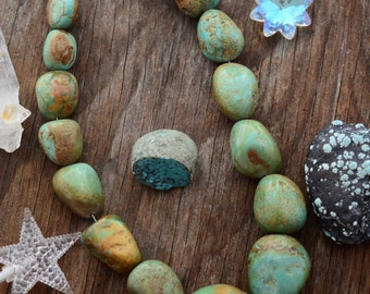 "Light Blue Vintage Nevada #8 Mine, American Turquoise, Graduated Chunky Turquoise Nuggets, 16"" / Arizona Turquoise Beads, Layaway Available"