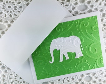 Lucky Elephant Note Cards Embossed Stationery Notes Green and White Thank You Notes by Lime Green Rhinestones