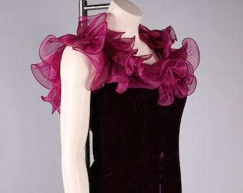 vintage origami ruffle dress purple velvet party dress 1980s prom size xs/small