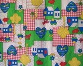 Moving Sale!  70s Hippie Patchwork Vintage Cotton Fabric 1-3/4 yards