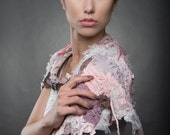 upcycled clothing . XS- M . wearable art capelet . woodsmoke