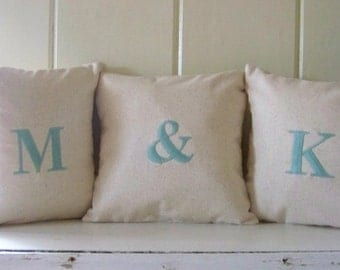 free shipping - set of 3 initial pillows / personalized pillow / monogram / wedding gift / anniversary / engagement / embroidered /gift idea