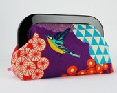 Clutch purse with resin frame - Kalmia in purple - Home purse / Echino birds and flora / Geometric modern abstract / Fuchsia lime turquoise
