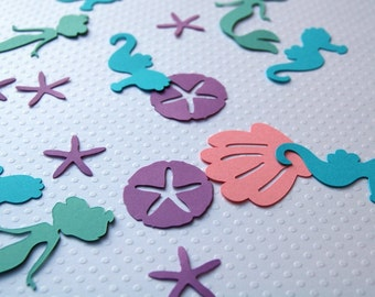 125 mermaid sea creature shell sand dollar starfish pastel table die cut confetti mermaid birthday party table scatter