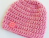 Newborn girl 0-3 months baby hat beanie pink sparkle infant hat baby photo prop Ready To Ship