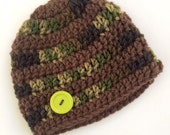 Newborn boy 0-3 months baby hat beanie Green brown striped camo infant hat baby photo prop Ready To Ship