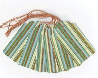 Glittered Green and Brown Stripes Gift Tags (6) PreStrung Scallop Top Hang Tags / GTL40 / Favor Bag Tags / Package Decor / Ready To Ship