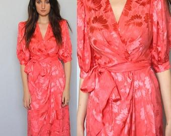 the hallowed jewel -- vintage 80's silk wrap dress size S