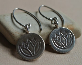 Lotus Stamped Fine Silver Earrings- Yoga Jewelry
