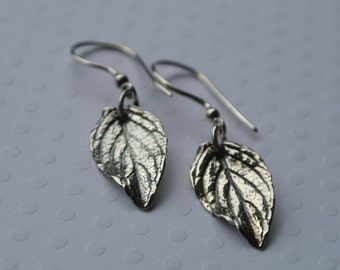 Silver Oxidized Mint Leaf Earrings- Woodland- Summer
