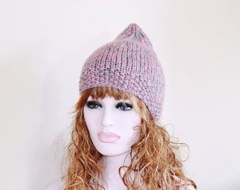 Pixie Hat Knitted Hat Elf Chunky Ready to Ship Pink Grey Hat