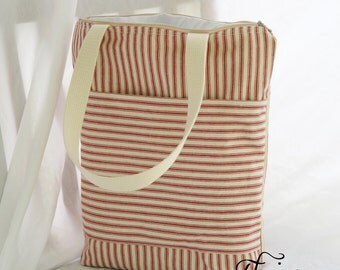 Red and Natural Ticking Stripe Fully Insulated Tall Lunch Tote- Bag- Zipper Lunch Bag 12x13