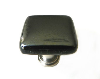 Cabinet Knob in Charcoal Gray Iridescent Art Glass - Unique Kitchen Knobs and Pulls by Uneek Glass Fusions k23101