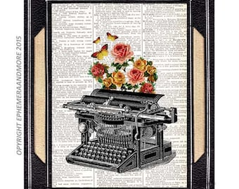 TYPEWRITER art print wall decor on upcycled vintage dictionary book page retro technology writing writer butterflies love letter roses 8x10