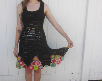 Crocheted Tank Dress with Circle Skirt and YoYo's
