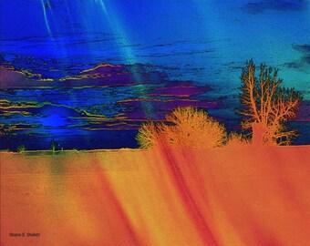 Southwestern Landscape Art, Digital Photomontage, Rural Wilderness,, Blue Sky Orange Trees, Wall Hanging, Home Decor, Giclee Print, 8 x 10