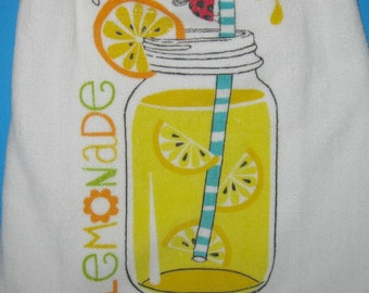 Lemonade double crocheted top kitchen hanging dish towel