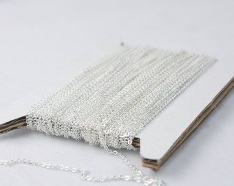 Sterling Silver Plated Chain Bulk Chain, 300 ft of Tiny Flat Soldered Necklace Wholesale Cable Chain -2x1.4mm -Free Adequate Jumpring 500pcs